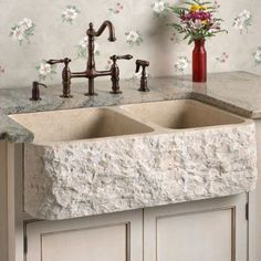 "33"" Chiseled Apron Marble Offset Double Bowl Farmhouse Sink - Polished Cream Egyptian Marble 60/40"