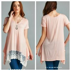 The Becca Tunic in Pink Beautiful shirt sleeve Tunic with a contrast detail at the bottom,  Material is rayon and spandex  Size Available S M L  Please indicate your size  PRICE FIRM UNLESS BUNDLED  Follow me on Facebook Sweet-bb Boutique  Tops Tunics