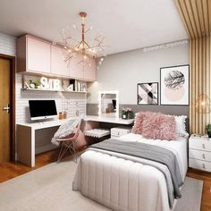 small bedroom ideas that are look stylishly & space saving 39 Room Design Bedroom, Girl Bedroom Designs, Home Room Design, Room Ideas Bedroom, Small Room Bedroom, Home Decor Bedroom, Study Room Decor, Bedroom Decor For Teen Girls, Pink Teen Bedrooms