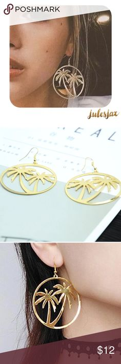 Gold palm tree circle earrings All boutique items come with tags and are nicely and securely shipped either with bubble wrap or jewelry boxes.  Free gifts are often included, when available.  Discounts for repeat buyers.  Be sure to bundle more items to save on shipping and for an additional discount. Jewelry Earrings