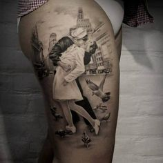Tattoo sailor with woman and bird   #Tattoo, #Tattooed, #Tattoos