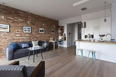 10 Apr 2020 - Entire home/flat for You are welcome to stay at Gallery 4 Apartment - glamorous, tastefully decorated, artful place to stay in one of most famous district of Warsaw – . Exposed Brick, House 2, Rental Apartments, Perfect Place, Teak, Dining Bench, Small Spaces, Sweet Home, Contemporary