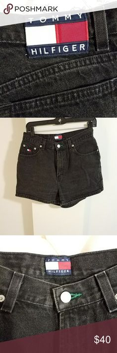 Vintage Tommy Hilfiger shorts Vintage Tommy Hilfiger black high waisted denim shorts.  Great condition.  Tag marked size 10. Waist laying flat 14in , rise 11in, hips 20in. Tommy Hilfiger Shorts Jean Shorts