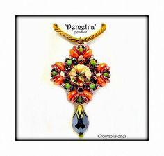 Bead pattern Cross pendant 'Demetra' with by CrownofStones on Etsy