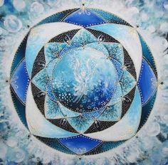 Blue Angel Mandala of knowledge by Timea varga The Magic Faraway Tree, Chakra Art, Relaxation Meditation, Visionary Art, Patterns In Nature, Ancient Art, Mandala Art, Sacred Geometry, Fractals