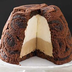 Everyone loves a boozy, coffee-flavoured Italian tiramisu and this is a great easy version, made with shop-bought sponge cake and without raw eggs and shaped like an ice cream bombe. Gourmet Recipes, Sweet Recipes, Cake Recipes, Dessert Recipes, Gourmet Foods, Ice Cream Bombe Recipe, Flan, Almond Wedding Cakes, Vanilla Sheet Cakes