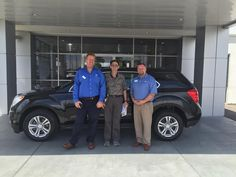 The Chevrolet Equinox seems to be a popular vehicle lately, since this new 2015 model is the second one delivered today. Could it be the great styling and roominess or the super gas mileage- up to 32 mpg highway? Either way, Robert Miller will experience it, since the Equinox pictured below now belongs to him! He is pictured with Jeff Strom, Sales Consultant, and Jeremy Talley, Floor Manager. Butch Oustalet Chevrolet Cadillac