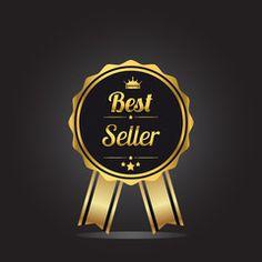 Best seller golden label, vector illustration.