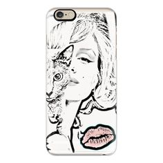 iPhone 6 Plus/6/5/5s/5c Case - Monroe Sketched Black and White with... ($40) ❤ liked on Polyvore featuring accessories, tech accessories, iphone case, cat iphone case, iphone cases, apple iphone cases, slim iphone case and black and white iphone case
