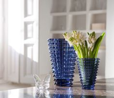 The Baccarat clear crystal Eye Vase features resplendent undulations.  Price: $1,150.00
