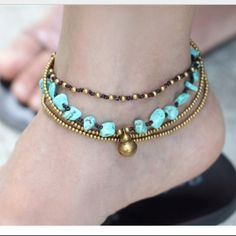 Turquoise and gold anklets