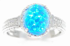 4 Carat Blue Opal Oval Diamond Ring .925 Sterling Silver Rhodium Finish on Etsy, $39.99
