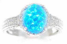 4 Carat Blue Opal Oval Diamond Ring .925 Sterling Silver Rhodium Finish on Etsy, $39.99