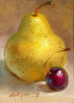 Bartlett Pear with Red Cherry 7 x5 Original Oil on panel HALL GROAT II, painting by artist Hall Groat II