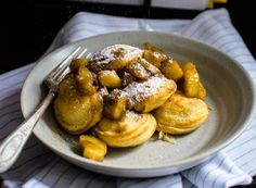 """This recipe for filled pancakes, also known as Ebelskivers, are filled with a butter Bananas Foster compote and are the perfect way to put a little """"hygge"""" into weekend brunch. Ebelskiver Recipe, Crispy Pizza, Gourmet Recipes, Healthy Recipes, Fruit Compote, Batter Recipe, Sunday Breakfast, Cream Soup, Orange Recipes"""