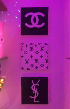 Neon Lights Bedroom, Neon Sign Bedroom, Room Ideas Bedroom, Home Decor Bedroom, Chanel Sign, Chanel Room, Apartment Painting, Purple Wallpaper Iphone, Dressing Room Design