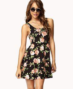 Fit & Flare Rose Print Dress | FOREVER 21 - 2072481053