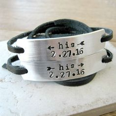 His and His Bracelets Anniversary Date Gay Couple by riskybeads