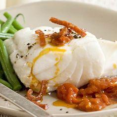 Cod with tomato and chorizo sauce