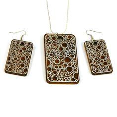 Laser Cut Wooden Jewelry  Bubbling Arrows  by woodeyestudios, $40.00