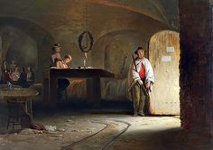 """Entrance to Fort Sumter. Painting by Conrad Wise Chapman.  """"Shows sally port of the Fort; party playing cards, also Elliott and his telegraph operator."""" – Conrad Wise Chapman, 1898"""