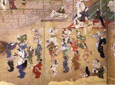 "「邸内遊楽図屏風」(右隻部分) 江戸時代(寛永期) "" Mansion in the Recreation figure screen "" ( right vessels Partial ) Edo Period ( period Kanei ) Kan'ei (寛永?) was a Japanese era name (年号, nengō,?, lit. ""year name"") after Genna and before Shōhō. This period spanned the years from February 1624 through December 1643"