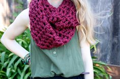 Check out my new shop, Sweet Bohemia!    Long Double Crochet Infinity Scarf- Maroon