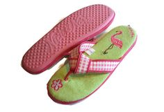 Nick & Nora Pink Flamingo Gingham House Slippers Size L/XL #NickNora #flamingo #gingham  http://stores.ebay.com/LYLACS-4U?_rdc=1