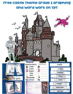 FREE grade 2 castle theme word work including alphabetical order puzzle, graphing, skip counting by 3's puzzle, low prep, self-correcting word puzzles