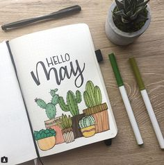 Bullet Journal Monthly Cover Page May Cover Hand Lettering Cactus Drawin . - Bullet Journal Monthly Cover Page May Cover Hand Lettering Cactus Drawin – sheet # - Bullet Journal School, Planner Bullet Journal, Bullet Journal Cover Page, Bullet Journal Writing, Bullet Journal Notebook, Bullet Journal Aesthetic, Bullet Journal Ideas Pages, Bullet Journal Spread, Journal Covers