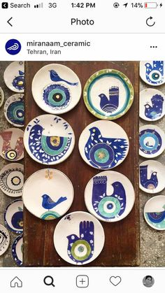 From iranianartist instapoetry لطف evileye ye underglazepainting instaceramics giftshop homedecor artbotique… Pottery Painting Designs, Pottery Designs, Paint Designs, Painted Plates, Hand Painted Ceramics, Plates On Wall, Blue Pottery, Ceramic Pottery, Pottery Art