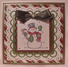 I love the layering.   I could use my Nellie Snellen square dies and maybe the Sizzix Snowman #3.