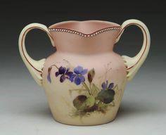 Mt Washington Burmese handled sugar bowl with violet decoration - 4 1/2 inch HOA Finest Color and Decoration.