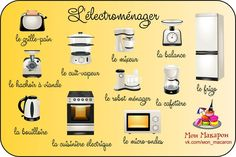 L'électroménager Ap French, French Class, French Lessons, English Lessons, French Stuff, French Teacher, Teaching French, French Language Learning, Learning Spanish