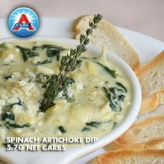 Serve warm with a variety of sliced vegetables. This creamy dip is acceptable for Phases 2-4.   atkins.com/recipes/spinach-artichoke-dip/1367