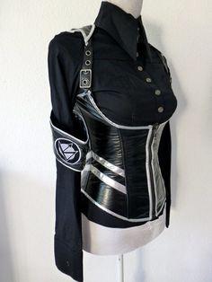 "LIP SERVICE Division LS ""Wanderlust"" underbust corset top #27-157 - black/silver size XL"