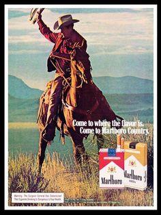 1976 Marlboro Cigarette Ad - Marlboro Man - Horse-This is a 1976 ad for a Marlboro cigarette! Marlboro Country' The ad is in great condition. Vintage Cigarette Ads, Vintage Ads, Vintage Prints, Vintage Posters, Old Advertisements, Advertising, Marlboro Man, Marlboro Cowboy, Cowboys Men