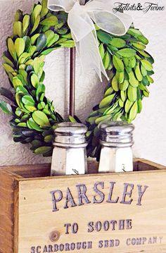 Vintage herb nesting crates are a great way to add decorative storage to a kitchen. Kitchen Vignettes, Kitchen Decor, Kitchen Ideas, Farmhouse Design, Farmhouse Decor, Farmhouse Style, Pantry Laundry Room, Boxwood Wreath, Grapevine Wreath