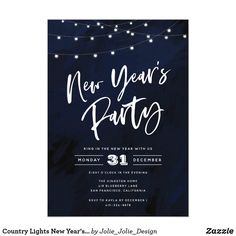 country lights new years eve party invitation