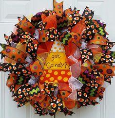 Deco Mesh Halloween Wreath-Candy Corn by StudioWhimsybyBabs