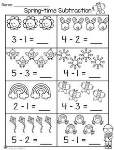 Spring Math & Literacy Packet Practice subtraction with picture support! Kindergarten Addition Worksheets, Subtraction Kindergarten, Kindergarten Math Activities, Kindergarten Math Worksheets, Math Literacy, Preschool Math, Subtraction Worksheets, Math For Kids, 3d Printing