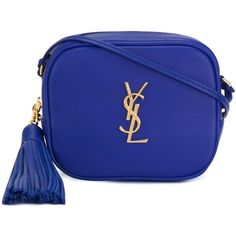 Saint Laurent Monogram Clutch (€575) ❤ liked on Polyvore featuring bags, handbags, clutches, royal blue, royal blue clutches, royal blue handbag, blue crossbody handbag, monogrammed purses and monogrammed crossbody purse