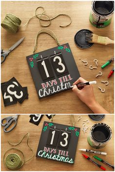 We're counting down the days until Christmas! Use inexpensive house numbers and chalkboard paint to make this DIY calendar countdown. You can even reuse it for birthdays and other celebrations. Check out the shopping list here.