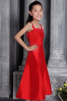 Romantic Red Taffeta Flower Girl Dress - Order Link: http://www.theweddingdresses.com/romantic-red-taffeta-flower-girl-dress-twdn1030.html - Embellishments: Ruched; Length: Tea Length; Fabric: Taffeta; Waist: Natural - Price: 63.41USD