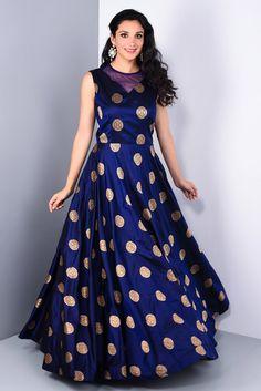Dresses - Silk Embroidered Self Design Stitched Long Gown (Blue) Long Gown Dress, Sari Dress, Anarkali Dress, The Dress, Saree Gown, Fashion Designer, Designer Gowns, Indian Designer Wear, Indian Gowns