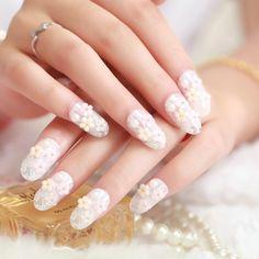 2015 Fashion Fresh White Lace 3D False Nail Art Decals Manicure