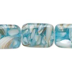 Bead, mother-of-pearl and resin (assembled), aqua blue, 20x15mm-21x16mm rounded puffed rectangle. Sold per 15-inch strand. - Fire Mountain Gems and Beads