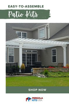Improve the look of your yard with a high quality pergola. There are a number of styles and sizes that will fit your house and your yard aesthetic as well as simultaneously increasing curb appeal. #pergolakits #outdoorliving #backyardmakeover Patio Kits, Pergola Kits, Pergola Designs, Vinyl Pergola, Cedar Pergola, Cedar Lumber, Backyard Retreat, Outdoor Living, Outdoor Decor