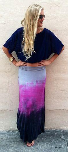Deep Sea purple maxi skirt - Boca Leche