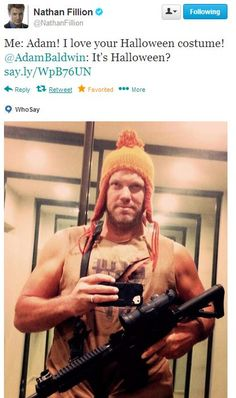 Adam Baldwin Cosplays his own character for Halloween - Jayne Cobb - Firefly. Wait a second! Is it cosplay then? Buffy, Nerd Love, My Love, Nathan Fillon, Adam Baldwin, Firefly Serenity, Firefly Jayne, Star Wars, Raining Men